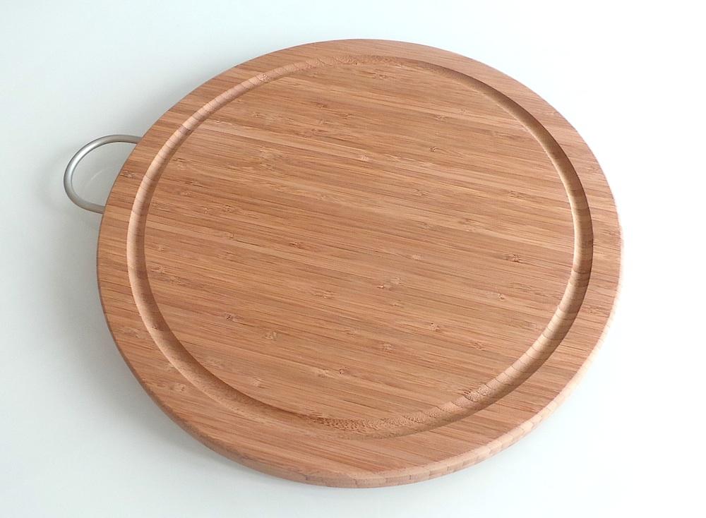 tagliere legno di bamboo tondo con manico diam cm 36 per pizza salumi formaggi ebay. Black Bedroom Furniture Sets. Home Design Ideas